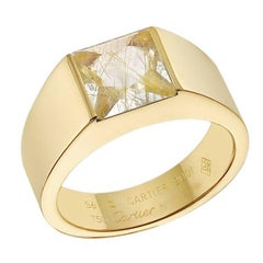 "Cartier Yellow Gold Rutilated Quartz ""Tank"" Ring"
