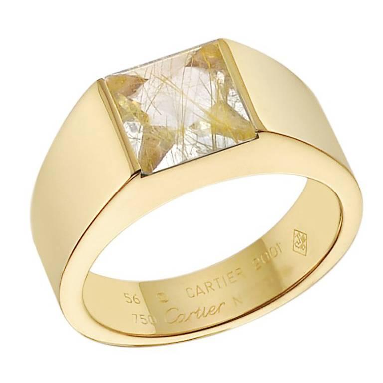 "Cartier Yellow Gold Rutilated Quartz ""Tank"" Ring"
