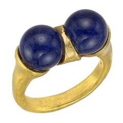 Lalaounis Yellow Gold Lapis Twin Ring