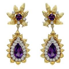 Amethyst Diamond Foliate Pendant Earclips
