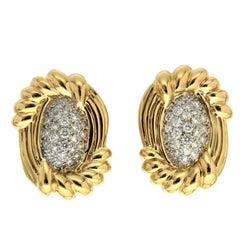 Cornetto Pave Diamond Gold Earring
