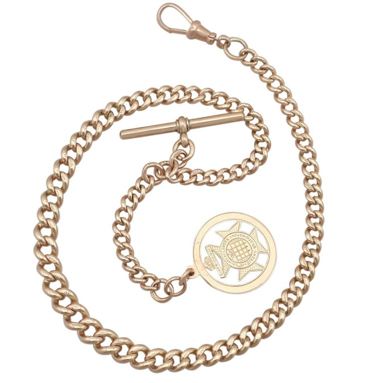 1920s Rose Gold Albert Chain and Fob