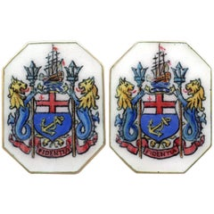 1900s Enamel and Yellow Gold Cufflinks