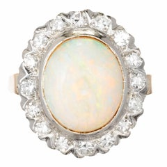3.50 Carat Oval Opal Diamond Halo Gold Cocktail Ring