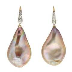 Baroque Toast Fresh Water Pearl Drops Earrings with Diamond Lever Back