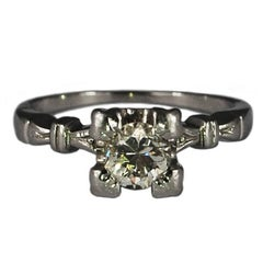 Art Deco Diamond Platinum Vintage Engagement Ring