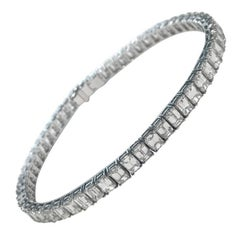 Emerald Cut Certified Diamonds 10.55 Carat on Platinum Tennis Bracelet
