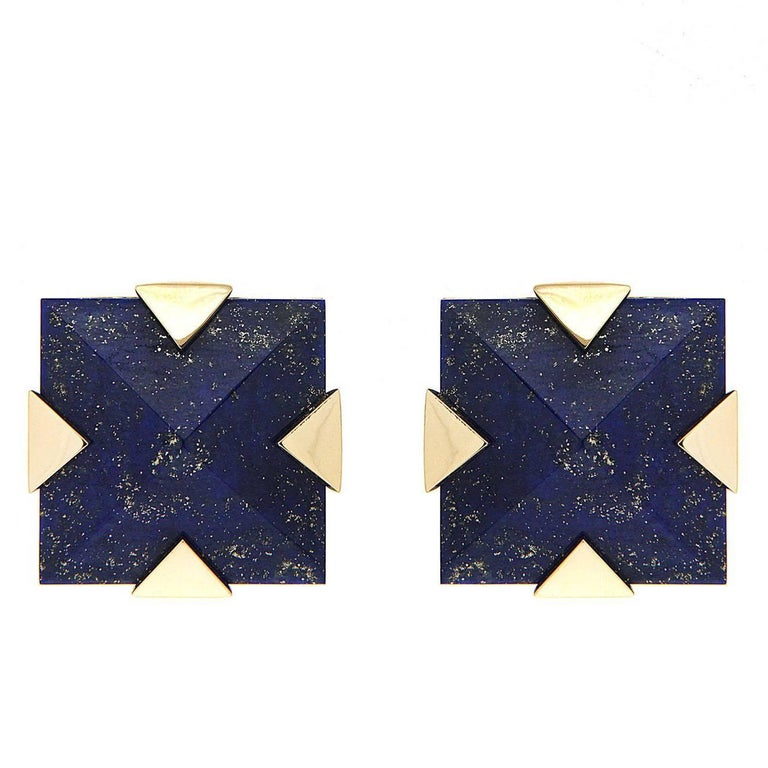 Valentin Magro Square Pyramid Lapis Lazuli and Gold Motif Earrings