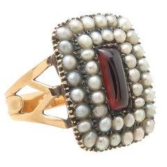 Georgian Garnet Pearls and Gold Ring