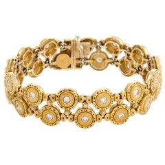 Alex Sepkus Diamond Studded Two Row Yellow Gold Bracelet
