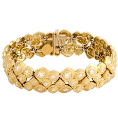 Alex Sepkus Diamond Studded Three-Row Pebble Yellow Gold Bracelet