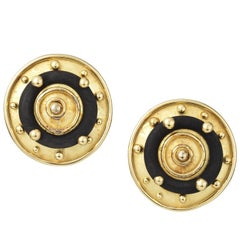 Circular Gold and Wood Denise Roberge Earrings
