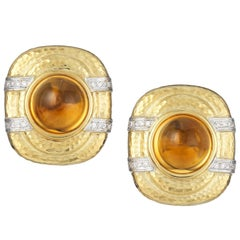 Diamond Oval Citrine Faceted Gold Clip Earrings