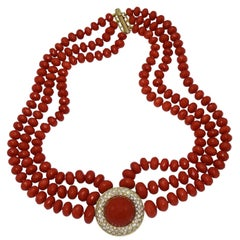 1960s Multi-Strand Coral Bead and Diamond Necklace