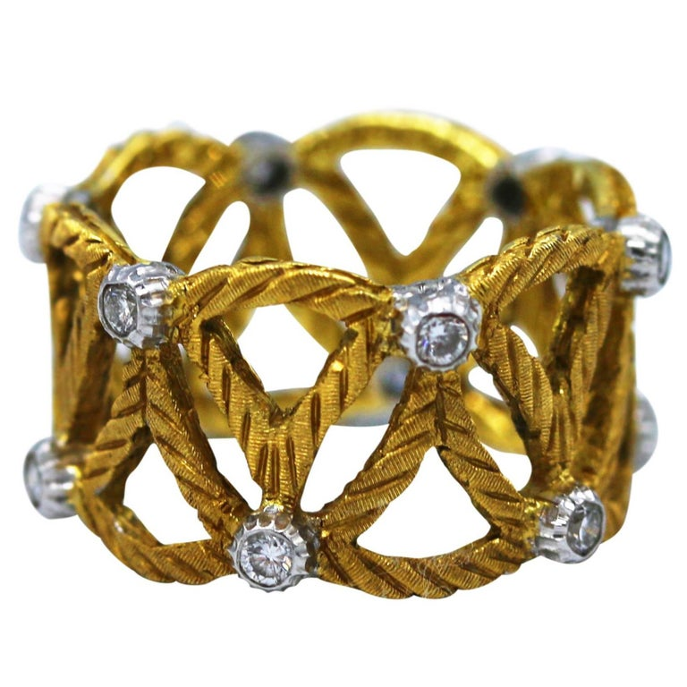 Buccellati Diamond and Gold Band Ring