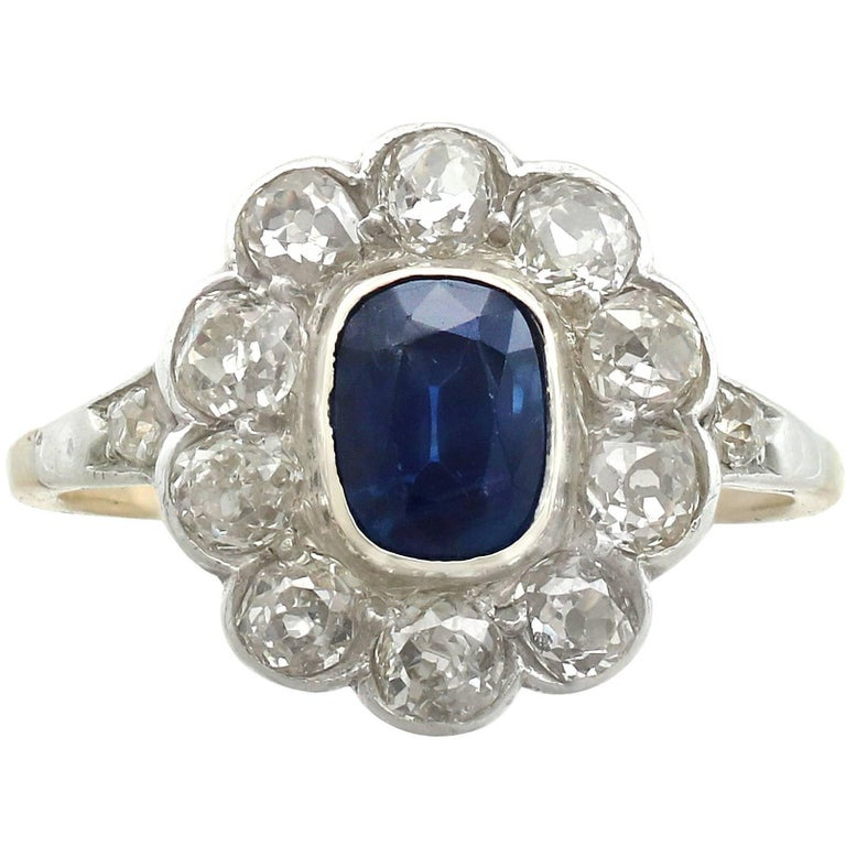 1890s 1.28 Carat Sapphire and 1.65 Carat Diamond Yellow Gold Cluster Ring