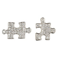 Akillis Puzzle Mismatched Earrings 18 Karat White Gold White Diamonds