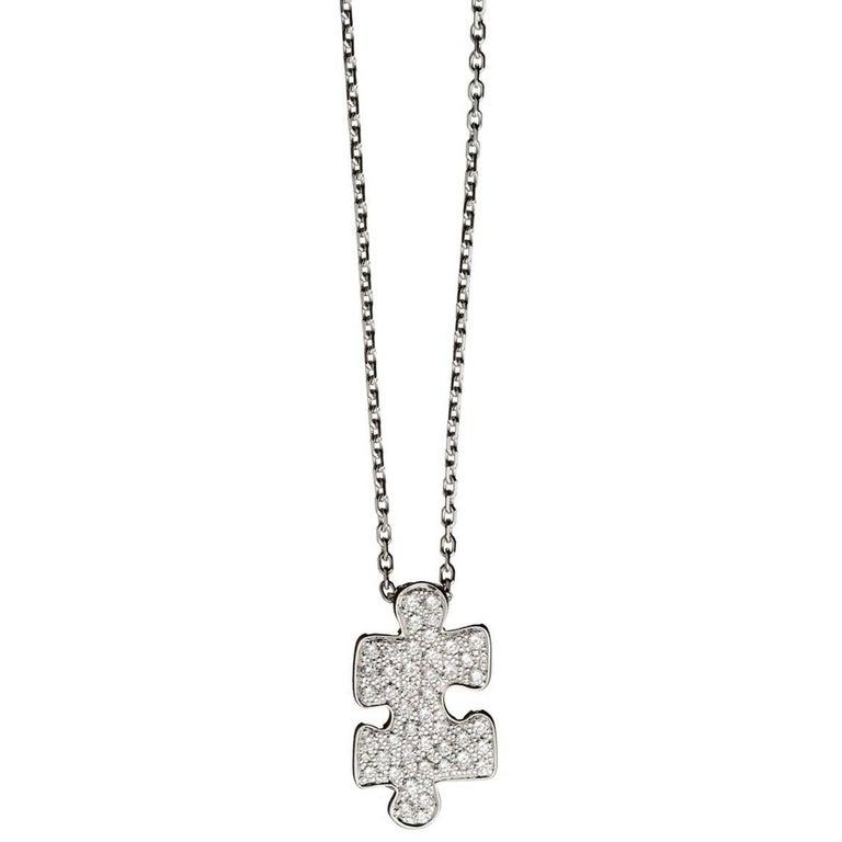 Akillis Mini Puzzle Pendant 18 Karat White Gold White Diamonds For Sale