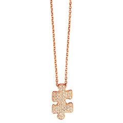 Akillis Mini Puzzle Pendant 18 Karat Rose Gold White Diamonds