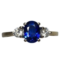 IGI Certified Untreated Ceylon Blue Sapphire Diamond Engagement Ring