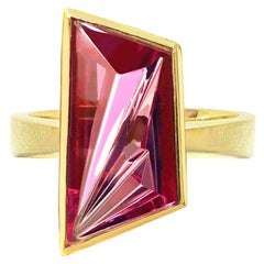 Enric Majoral Textured Gold Munsteiner Pink Tourmaline One of a Kind Ring