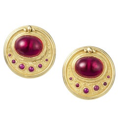 Clip-On Red Synthetic Stone and Ruby Cabochon Earrings