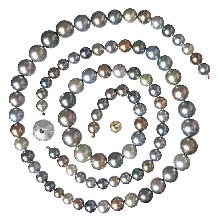 Atelier Zobel Multicolored Tahitian Pearl Double Hidden Clasp Necklace