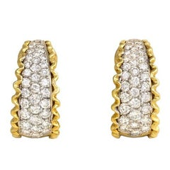 Van Cleef & Arpels Estate Diamond Gold Hoop Earrings