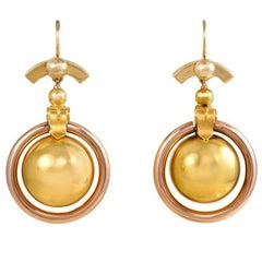 Antique Two-Color Gold Earrings with Ball Pendants