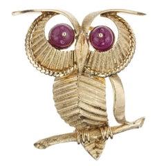 Ruby Owl Brooch in 18 Karat Yellow Gold