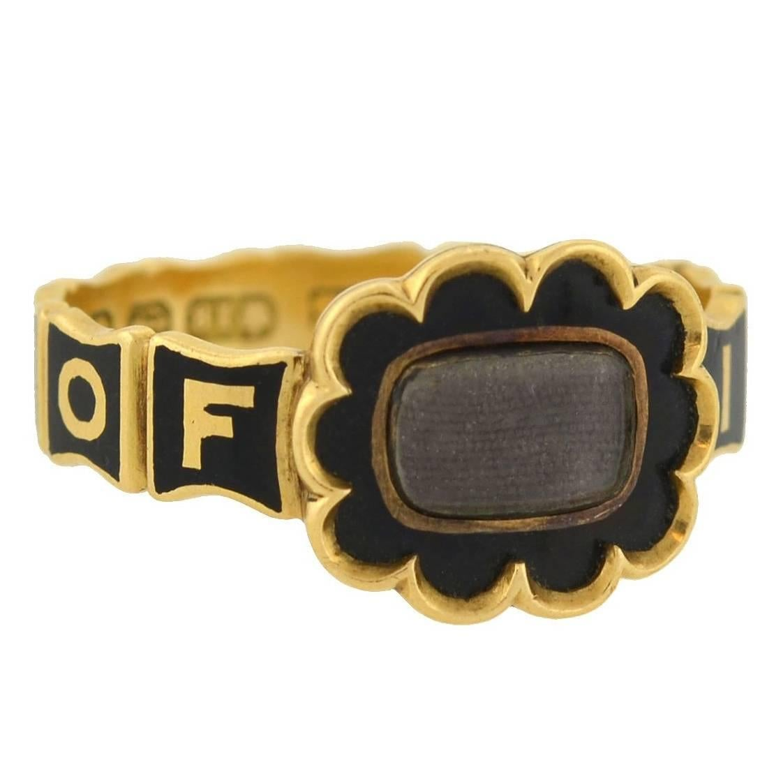 Early Victorian English Mourning Ring with Enameling and Woven Hair