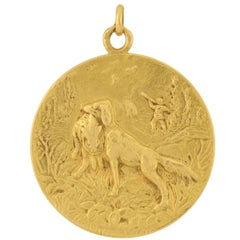 Cartier Edwardian Gold Disc Pendant with Hunting Dog Motif