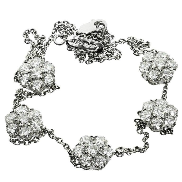 Van Cleef & Arpels Fleurette Five Diamond Flowers Large White Gold Necklace