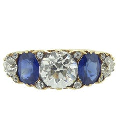 Victorian Style Sapphire and Diamond Ring, Old Cut Diamonds 1.88 Carat