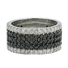 Black and White Five-Row Diamond White Gold Ring