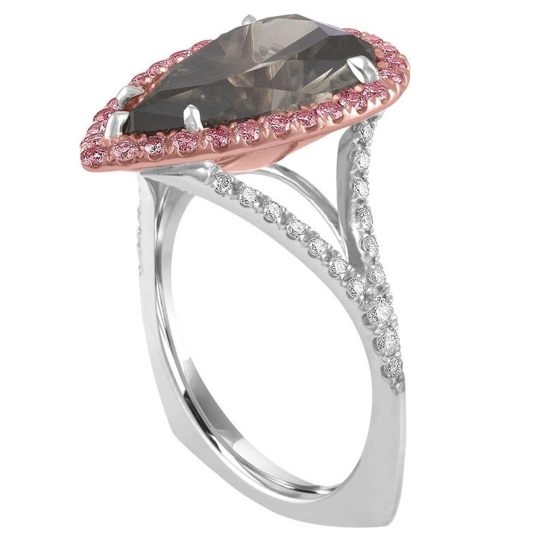 5.36 Carat Pear Shape GIA Certified Dark Gray with Pink Diamonds Platinum Ring