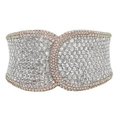 27.40 Carat Diamond Cuff White and Rose Gold Bracelet