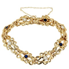 GIA Certified Art Nouveau Diamond Sapphire Woven Link Gold Bracelet
