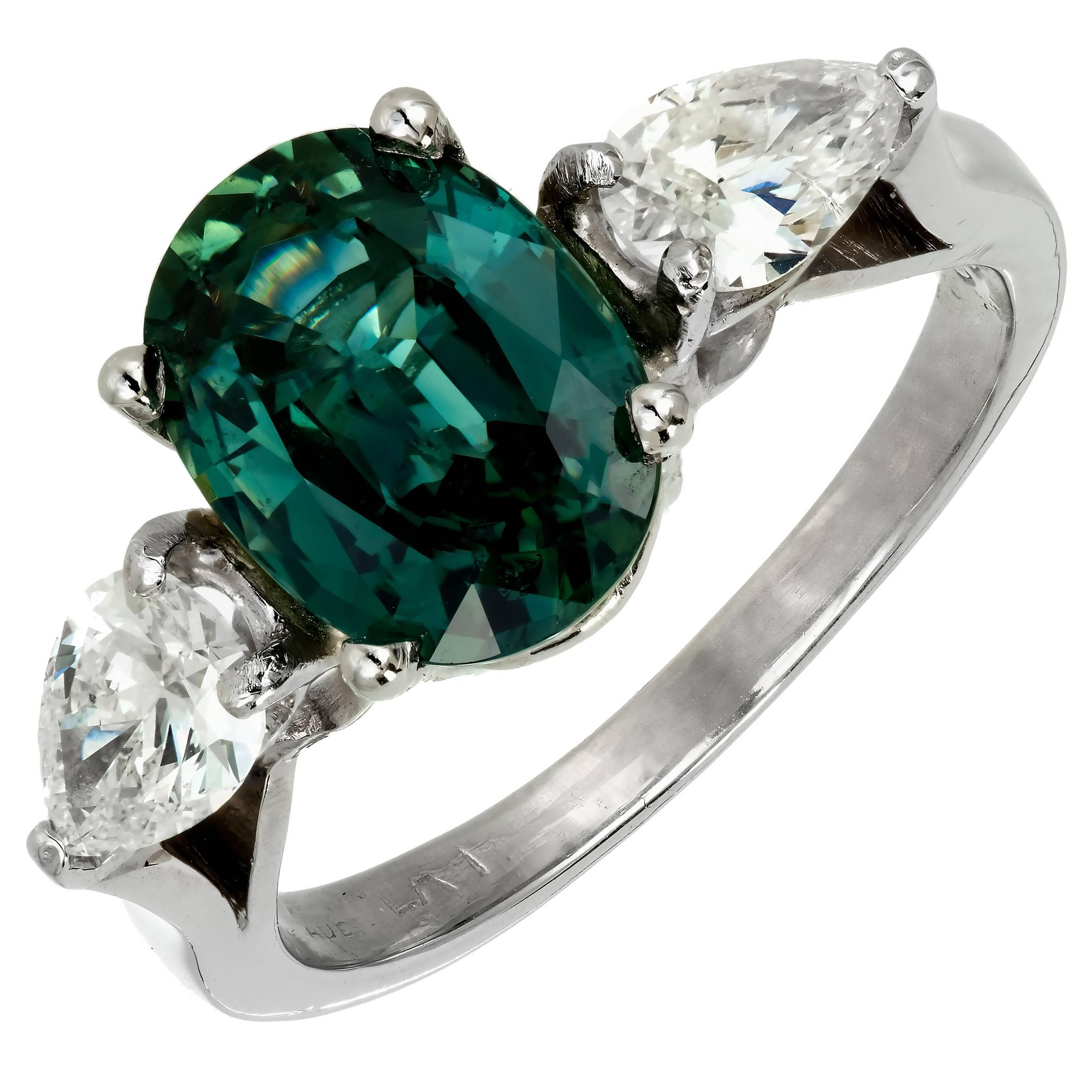 GIA Certified 2.86 Carat Green Natural Sapphire Diamond Platinum Engagement Ring