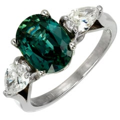 GIA Certified 2.86 Carat Green Natural Sapphire Diamond Platinum Engagement Ring