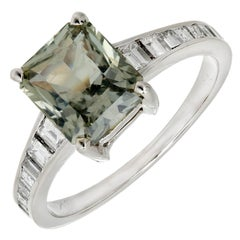 GIA Certified 2.89 Carat Green Sapphire Diamond Gold Engagement Ring