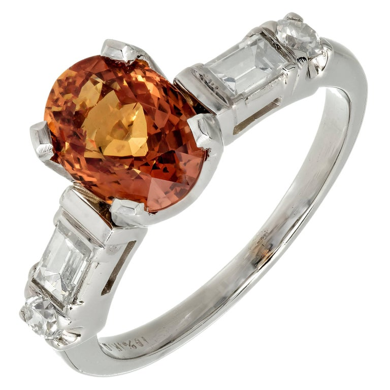 GIA Certified 2.08 Carat Orange Sapphire Diamond Platinum Engagement Ring 1