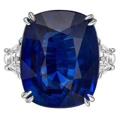 16.04 Carat Ceylon Sapphire Diamond Ring