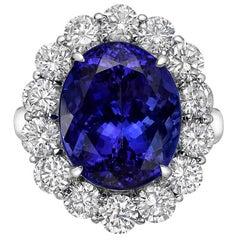 10.15 Carat Tanzanite Diamond Cluster Ring