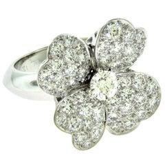 Van Cleef & Arpels Cosmos Diamond Center White Gold Diamond Ring, Medium Model