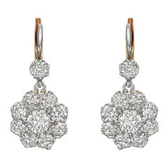 Old Mine Diamond Cluster Drop Earrings