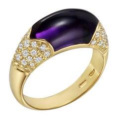 Bulgari Amethyst Yellow Gold Diamond Ring