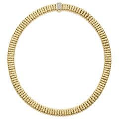 18 Karat Roberto Coin Appasionata Necklace with Pave Diamond Clasp
