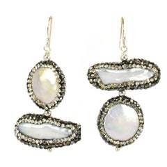 Freshwater Pave Pearl Earrings