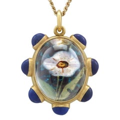 1890s Rock Crystal Lapis Lazuli 18 Karat Yellow Gold Pendant by 'Garrard'
